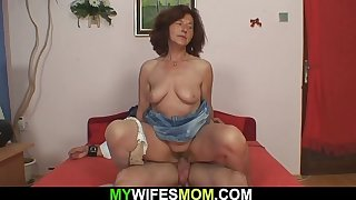 Old mother inl aw rides his load of shit after blowjob