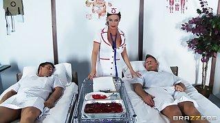 Wild sex with double penetration be advantageous to shaved pussy nurse Diamond Foxxx