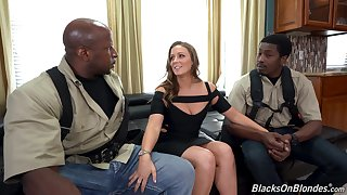 Two black guys fucks white chick all round plump nuisance Febby Twigs