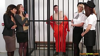 Amateurish blear of cock hungry sluts giving blowjobs to an inmate