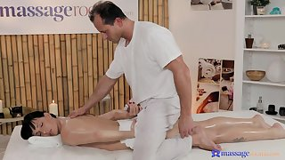 Skinny bitch is pleased to ride the older masseur find agreeable that