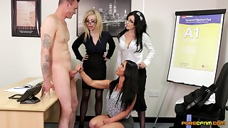 Pulling pornstar Chessie Kay and her associates please an amateur man