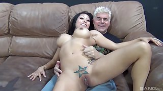 Doyen chap roughly fucks Asian with huge tits in dirty cam play