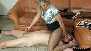 Seductive Gilt Hair Coddle In Pantyhose Delivers A Special Handjob