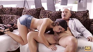 OLD4K. Naughty brunette tempts old baffle into drilling her butthole