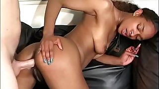 Hot pitch-black unspecific takes sallow cock up the ass