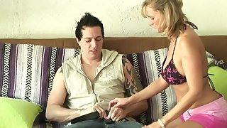 Horny blonde MILF goes wild with  lucky tramp