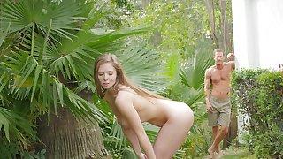 Lena Paul shows off naked during backyard fantasy sex