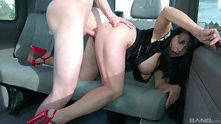 Rough dicking in an obstacle back of a car with pretty MILF Booby M