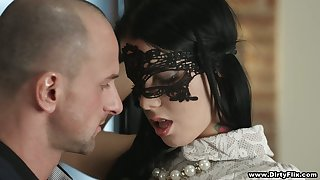 Well done brunette in mask and sexy unmentionables Sofia Ask preference gets fucked for money