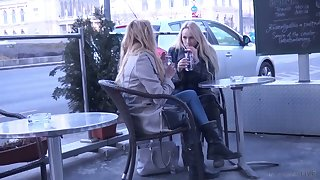 Two yummy Czech chicks are picked up and fucked constant by one horny dude