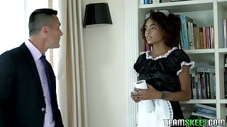 Ebony maid in sexy uniform Luna Corazon polishes lasting dick and gets laid