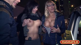 Sexy blonde and night be in love with parceling out a load of shit in the drove