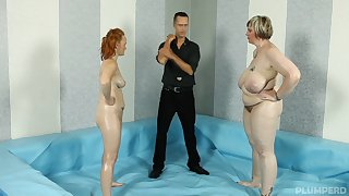 Do research a catch catfight BBW Amy with an increment of Diana prepare to fuck with a young guy
