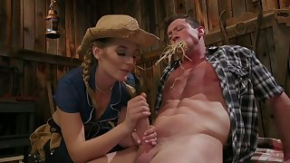 Hot blooded cowgirl Mona Wales finger fucks anus and jerks wanting hard dick