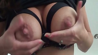 Awesome frolicsome GF of mine loves to expose her juicy big boobies