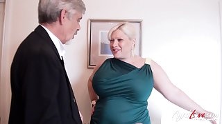 Old impoverish loves them BBW and that young gentleman has got big bore titties