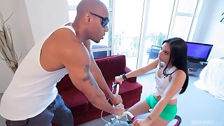 Latin slut, Coco Valentina is getting her daily dose of roger from her horny, black team up